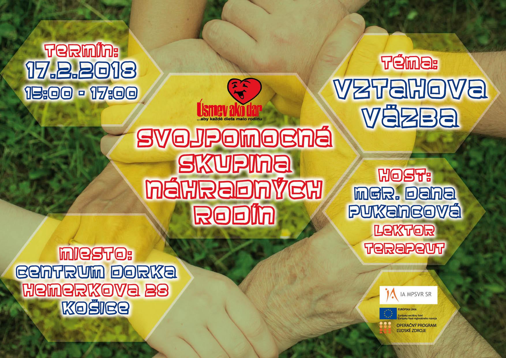 Pozvánka pre náhradných rodičov na svojpomocnú skupinu v Košiciach na tému Vzťahová väzba