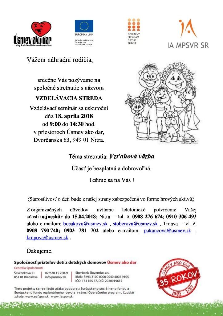 Pozvánka Vzdelavacia streda seminar pre nahradnych rodicov